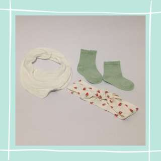 Bib, headband & kaos kaki H&M for baby