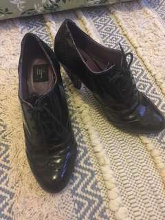 Zara TRF Black Patent Leather Heel brogues