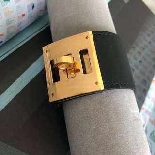 Hermes Black Kelly Dog bracelet