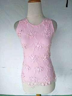 Atasan import Pink motif bunga timbul