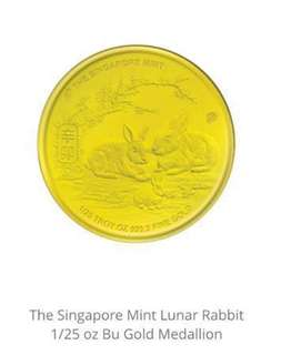 The Singapore Mint Lunar Rabbit Bu Gold Medallion