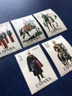 1978 西班牙 騎兵部隊 軍服郵票5全