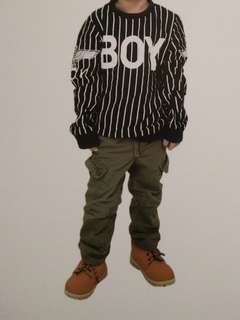 Army green jogger pants and longsleeve