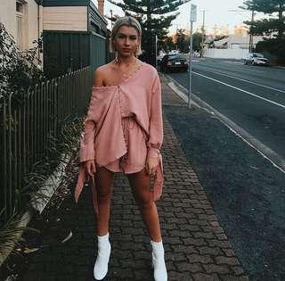 Sabo LUXE Pink Shirt + Shorts