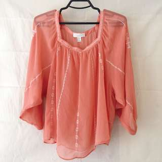 Forever 21+ tangerine see-through top