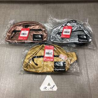SUPREME X THE NORTH FACE SS18 METALLIC LUMBER II ROO POUCH BAG (GOLD/SILVER/ROSE GOLD)