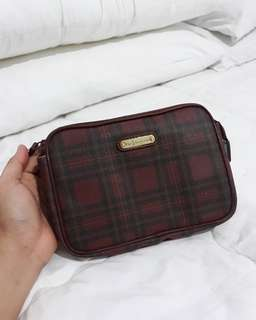 vintage POLO BY RALPH LAUREN compact clutch 20 RED checker leather