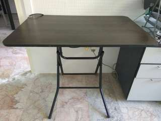 Small brown foldable table