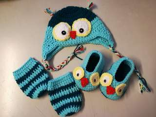 Crochet Baby Gift Set (Owl pattern)