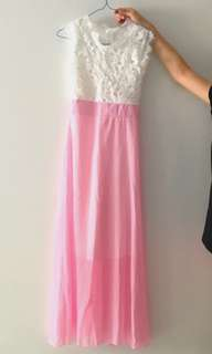 Lace Top Pink Gown