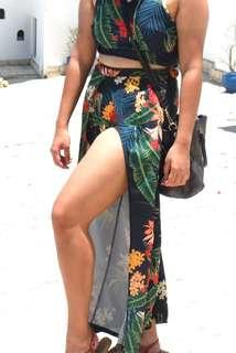 High slit floral pants
