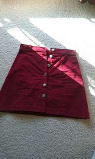 Red corduroy mini skirt size 6