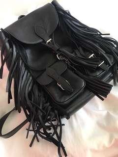 Saint Laurent Festival Fringe Small Leather Backpack, Black