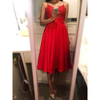 Red Strap Lace Midi Skater Prom Dress with Button-up Back