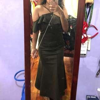 Olive green long/formal dress (rent)