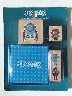 Mini Wooden Stamp Set <Robot>
