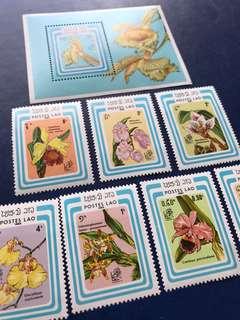 只張兩套 1985 老撾 花卉特產郵票7全加小型張 一套