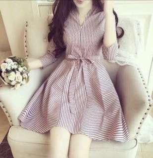 Korean Pink Ulzzang Striped Dress Women