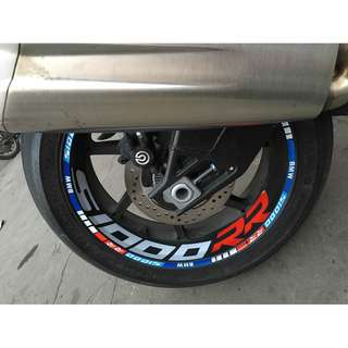 BMW S1000RR Wheel rims inner outer sticker decals racing