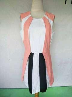 Dress import Putih garis garis