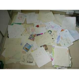 小朋友的快樂童年畫,手稿,賀卡,超過140張