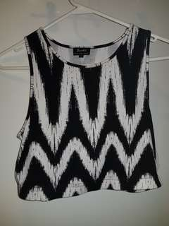 Black and White stripe Bardot Crop - Size 12