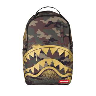 Sprayground Gold Stencil Shark Camo backpack
