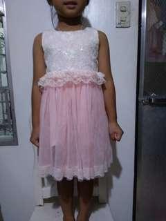 Lacy peach dress for 4 to 5 yo