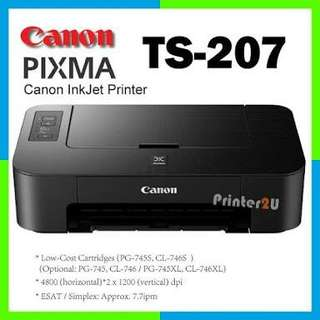 Brand New Canon Pixma TS207 Printer With Inks (CMYK)