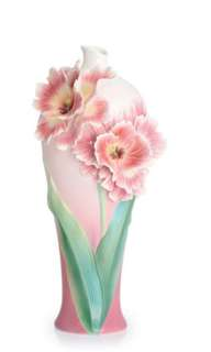 Franz collection porcelain Parrot tulip large vase