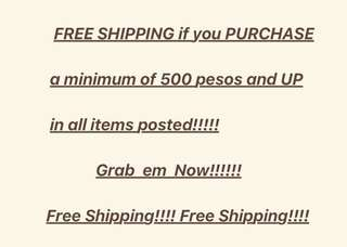 Free Shipping for Metro Manila only!!!
