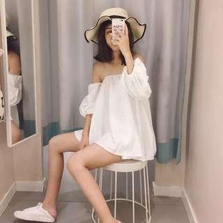 🚚 【貝莉潮流】一字領上衣⭐️新款韓版時尚風一字領露肩燈籠袖襯衣寬鬆吊帶上衣