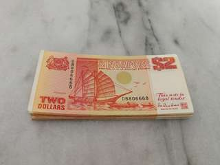 Singapore $2 orange ship series currency note (30 pcs)币