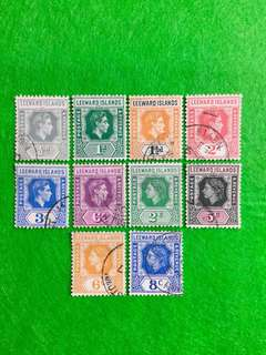 1938 & 1954 Leeward Islands Small Lot of 10V King George 6 & Queen Elizabeth 2 Used Definitives