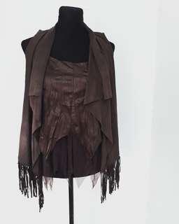 Faux leather top & fringe bolero