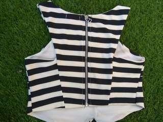 Crop top black white stripe,  back metal zipper