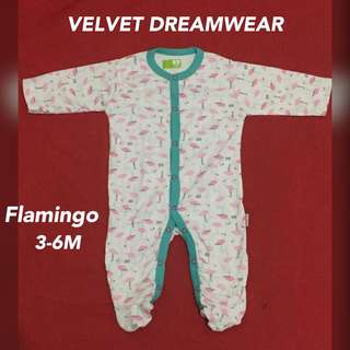 Velvet dreamwear sleepsuit Flamingo