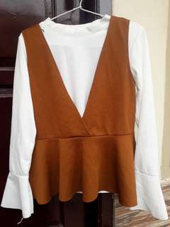 Overall blouse white brown