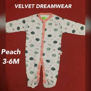 Velvet dreamwear sleepsuit peach