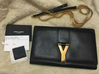 Preowned Authentic Saunt Laurent Y Wallet on Chain (black w/ gold hardware)