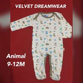 Velvet dreamwear sleepsuit animal
