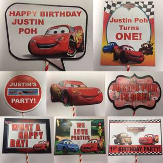 Customized Disney Cars Birthday Photo Props