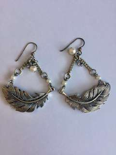 Mimco Silver Feather Earrings
