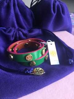 Tory Burch: Double Wrap Logo Stud Bracelet with FREE POUCH