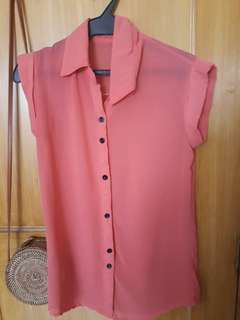 Orange Button Down Ladies Top