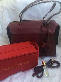 Complete Package: Maroon Quinn Handbag (see details for freebies)