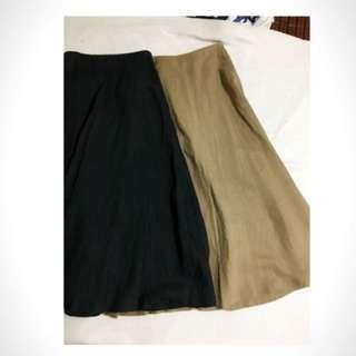 🚚 Muji無印良品全新法國亞麻 長裙 深藍 駝色 S各一件。標籤已撕 尺寸買錯