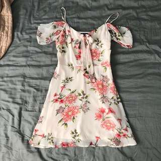 Forever 21 Red Cream Floral Skater Dress Off Shoulder
