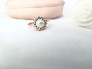 Pearl Diamond 14k Gold Ring