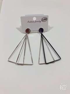 🚚 銀飾耳環 幾何圖形